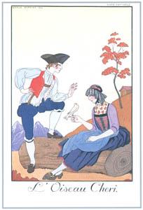 ジョルジュ・バルビエ – 鳥さんこんにちは [バルビエ・コレクション I FASHION CALENDAR 1922-1926より]のサムネイル画像