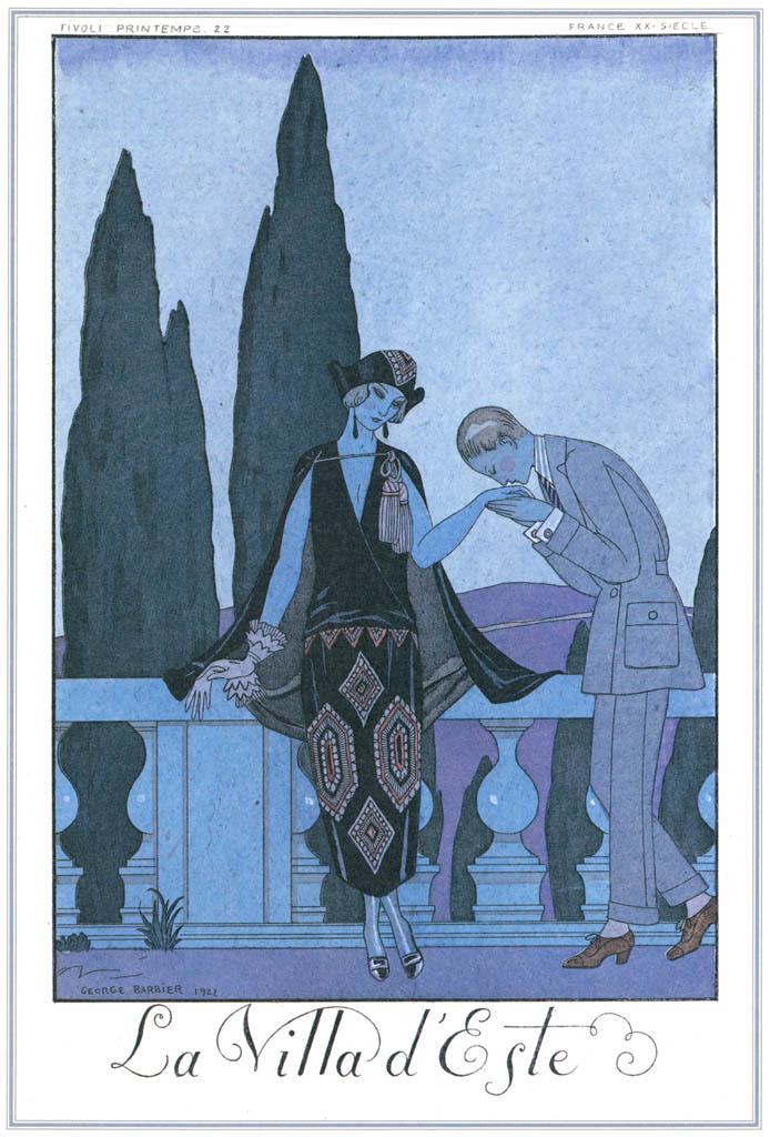 ジョルジュ・バルビエ – エステ荘の噴水 [バルビエ・コレクション I FASHION CALENDAR 1922-1926より] パブリックドメイン画像