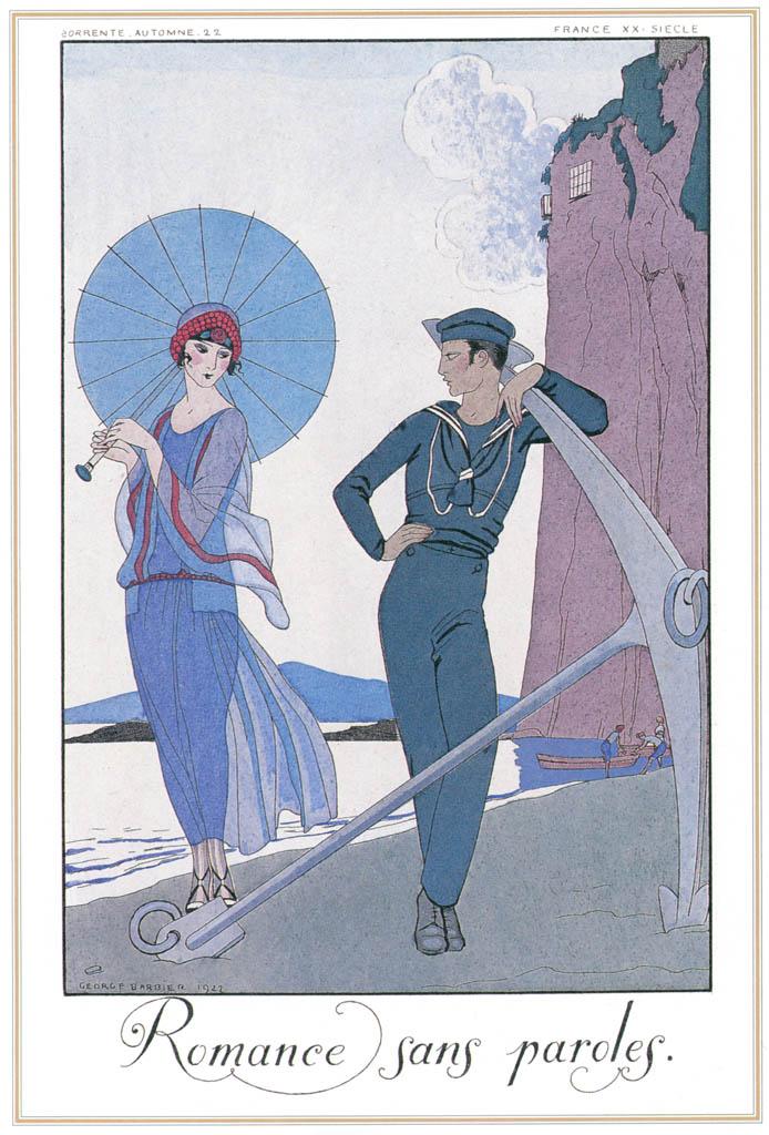 ジョルジュ・バルビエ – 言葉なき恋歌 [バルビエ・コレクション I FASHION CALENDAR 1922-1926より] パブリックドメイン画像