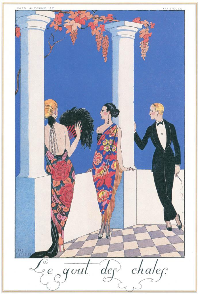 ジョルジュ・バルビエ – ショール風 [バルビエ・コレクション I FASHION CALENDAR 1922-1926より] パブリックドメイン画像