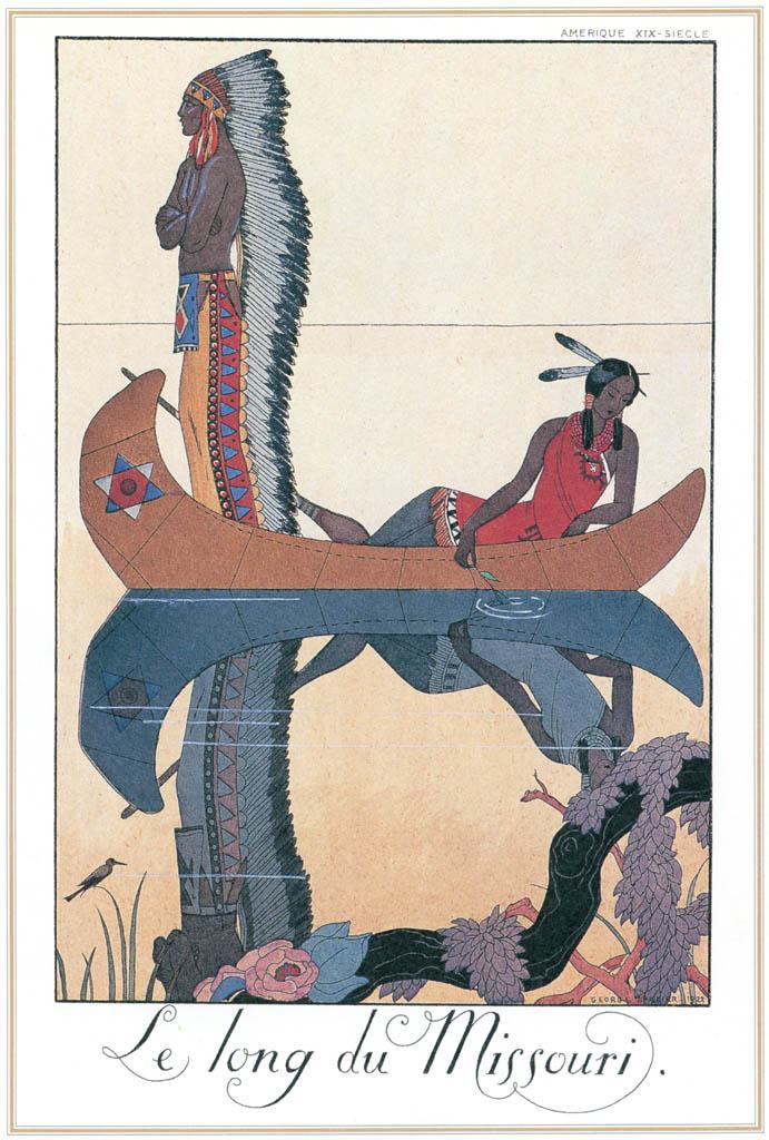 ジョルジュ・バルビエ – ミズーリ川に沿って [バルビエ・コレクション I FASHION CALENDAR 1922-1926より] パブリックドメイン画像