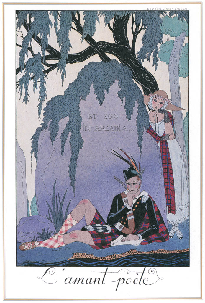 ジョルジュ・バルビエ – 詩人 の恋人 [バルビエ・コレクション I FASHION CALENDAR 1922-1926より] パブリックドメイン画像
