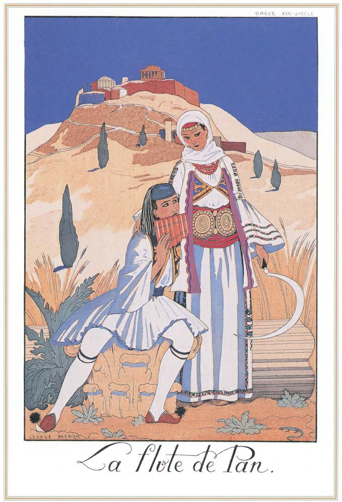 ジョルジュ・バルビエ – パンフルート [バルビエ・コレクション I FASHION CALENDAR 1922-1926より] パブリックドメイン画像