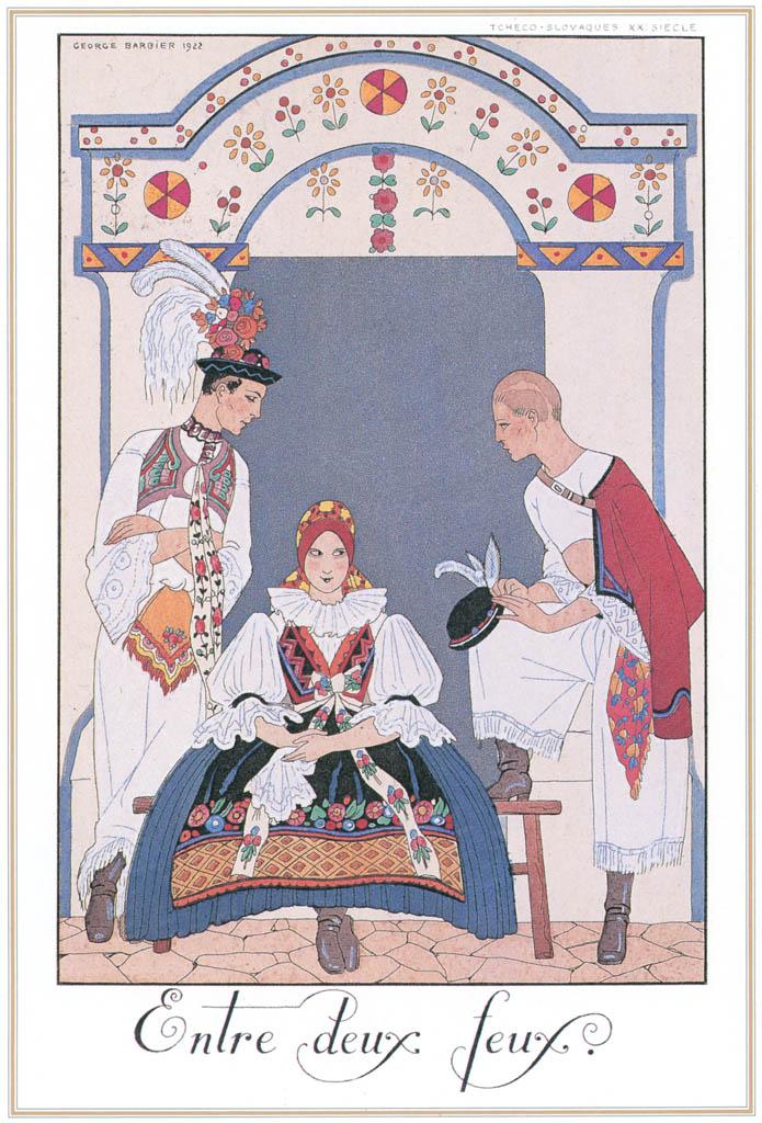 ジョルジュ・バルビエ – 板挟み [バルビエ・コレクション I FASHION CALENDAR 1922-1926より] パブリックドメイン画像
