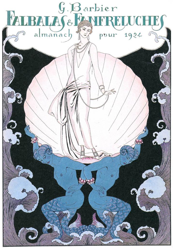 ジョルジュ・バルビエ – ファルバラ・エ・ファンフルリュシュ 1924年表紙 [バルビエ・コレクション I FASHION CALENDAR 1922-1926より] パブリックドメイン画像
