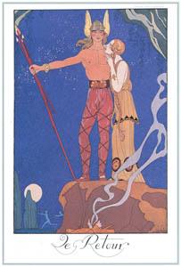 thumbnail George Barbier – Le Retour [from BARBIER COLLECTION I FASHION CALENDAR 1922-1926]