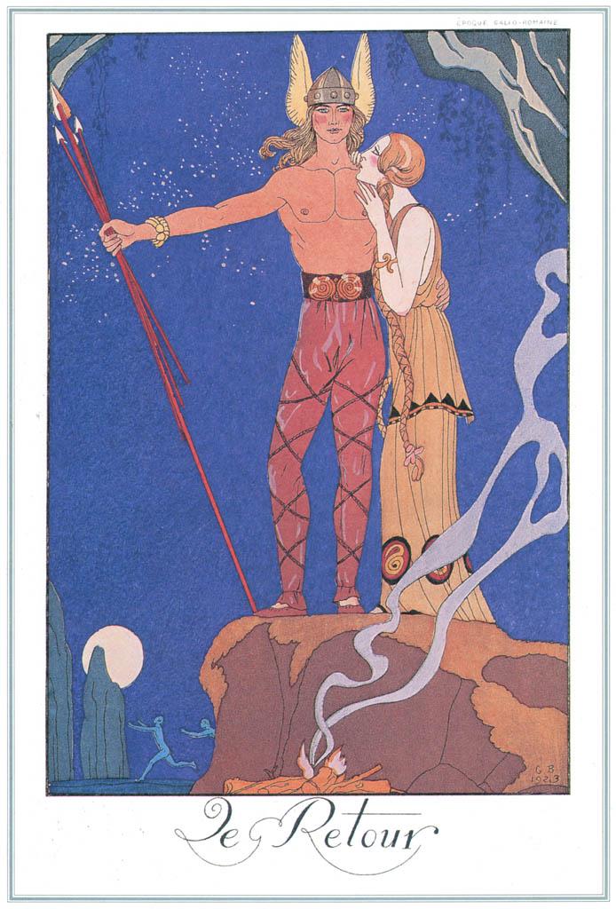 ジョルジュ・バルビエ – 返還 [バルビエ・コレクション I FASHION CALENDAR 1922-1926より] パブリックドメイン画像