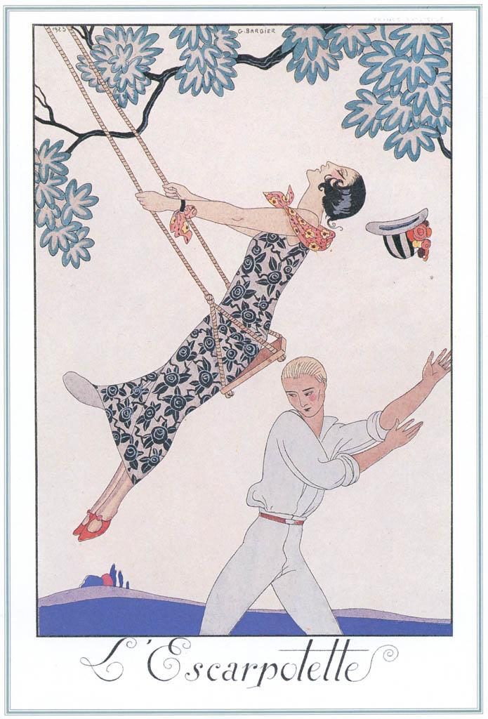 ジョルジュ・バルビエ – ブランコ [バルビエ・コレクション I FASHION CALENDAR 1922-1926より] パブリックドメイン画像