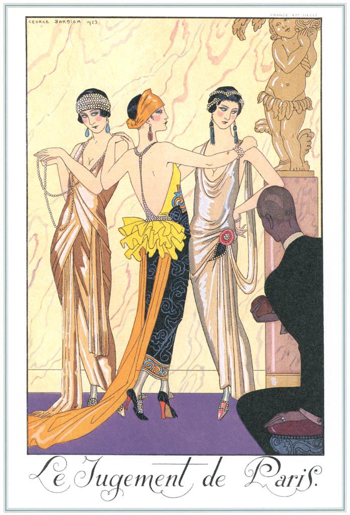 ジョルジュ・バルビエ – パリスの審判 [バルビエ・コレクション I FASHION CALENDAR 1922-1926より] パブリックドメイン画像