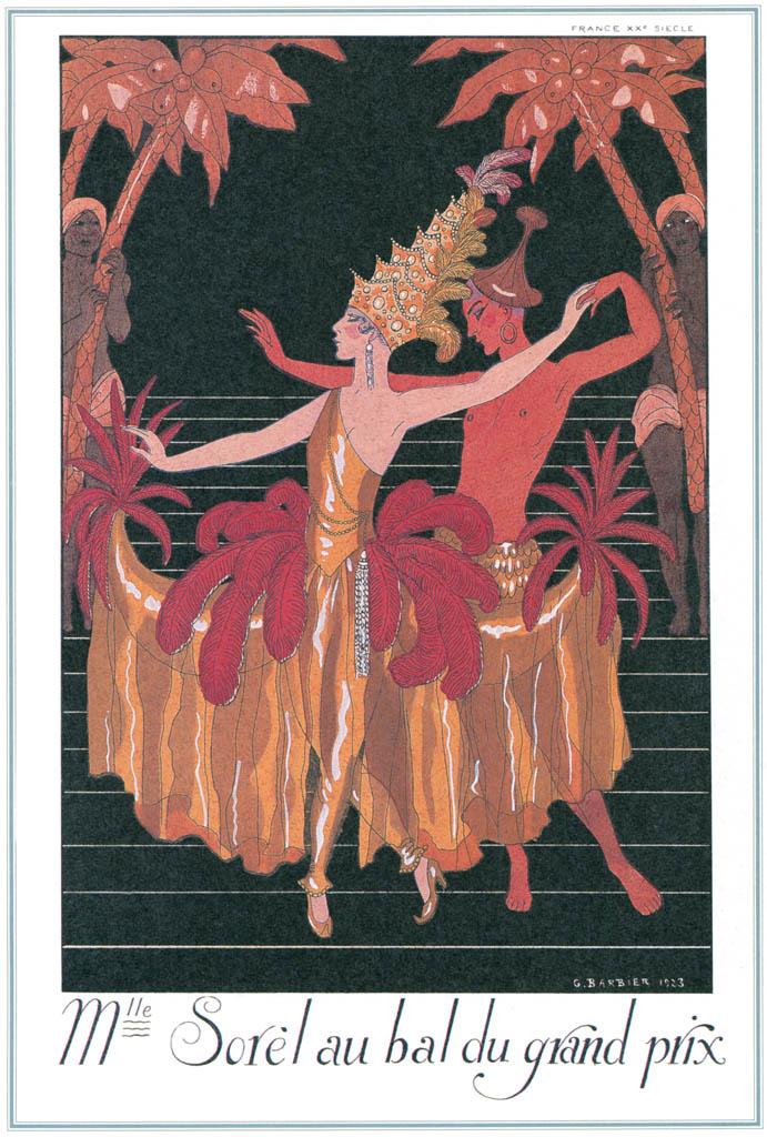 ジョルジュ・バルビエ – セシル・ソレル [バルビエ・コレクション I FASHION CALENDAR 1922-1926より] パブリックドメイン画像