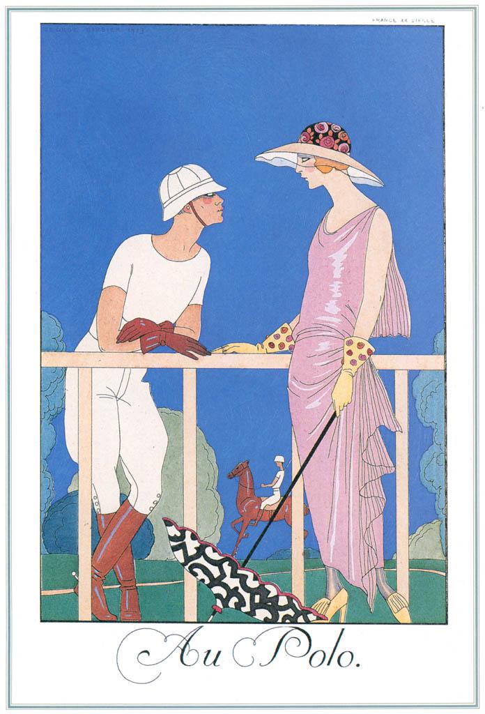 ジョルジュ・バルビエ – ポロにて [バルビエ・コレクション I FASHION CALENDAR 1922-1926より] パブリックドメイン画像