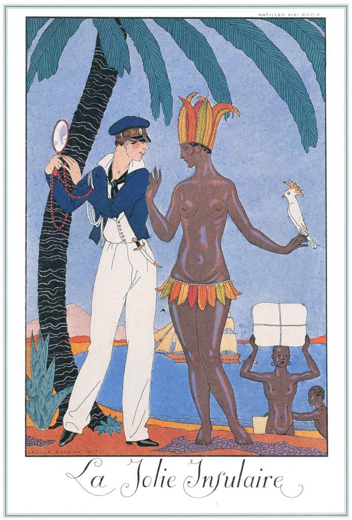 ジョルジュ・バルビエ – かわいい島民 [バルビエ・コレクション I FASHION CALENDAR 1922-1926より] パブリックドメイン画像