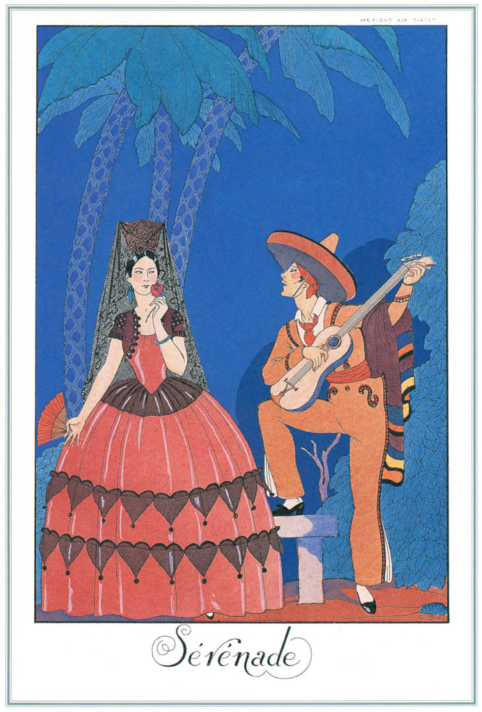ジョルジュ・バルビエ – セレナーデ [バルビエ・コレクション I FASHION CALENDAR 1922-1926より] パブリックドメイン画像
