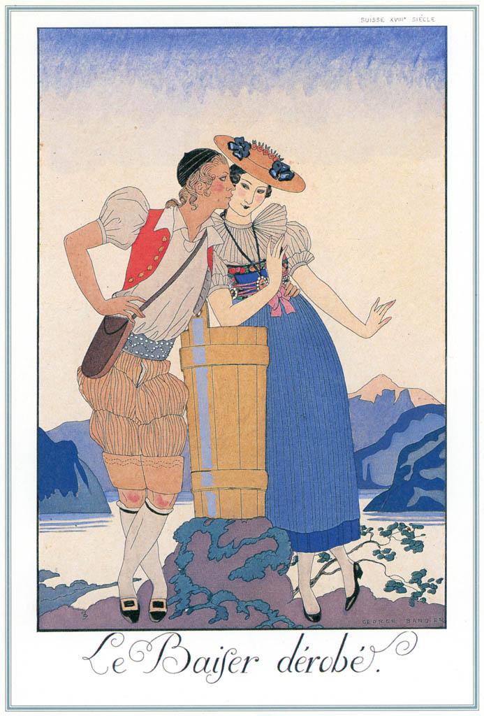 ジョルジュ・バルビエ – 盗まれたキス  [バルビエ・コレクション I FASHION CALENDAR 1922-1926より] パブリックドメイン画像