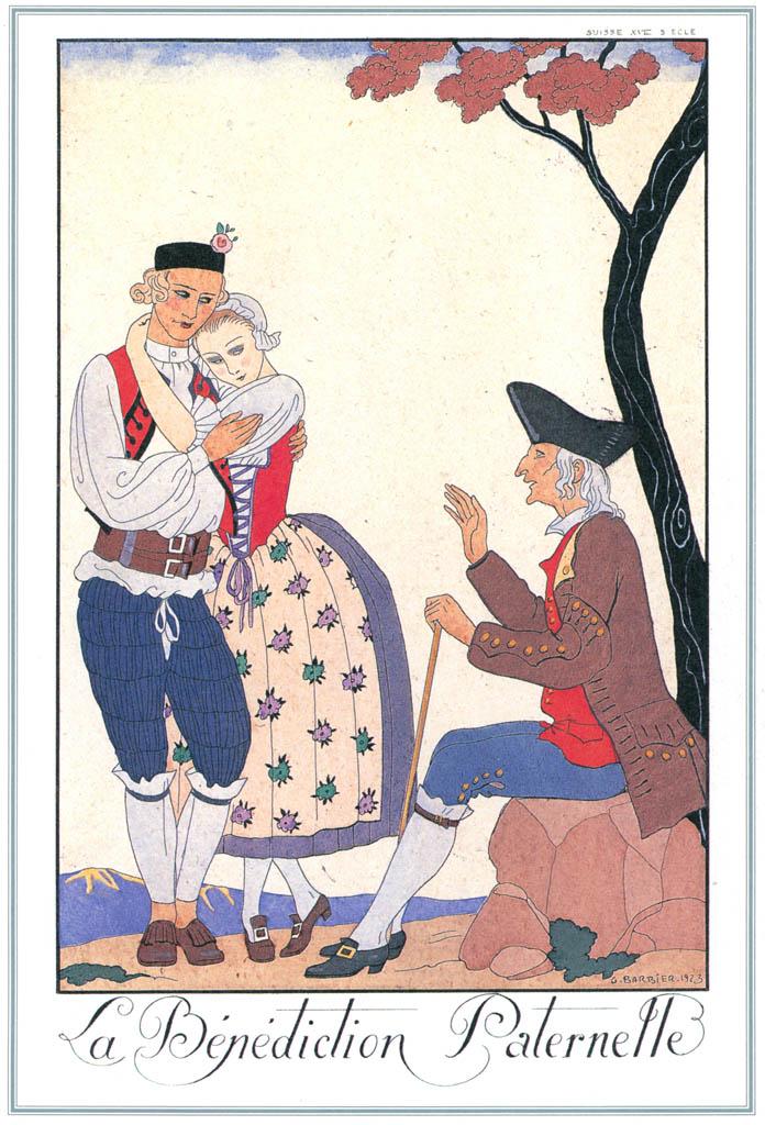 ジョルジュ・バルビエ – 父なる祝福  [バルビエ・コレクション I FASHION CALENDAR 1922-1926より] パブリックドメイン画像
