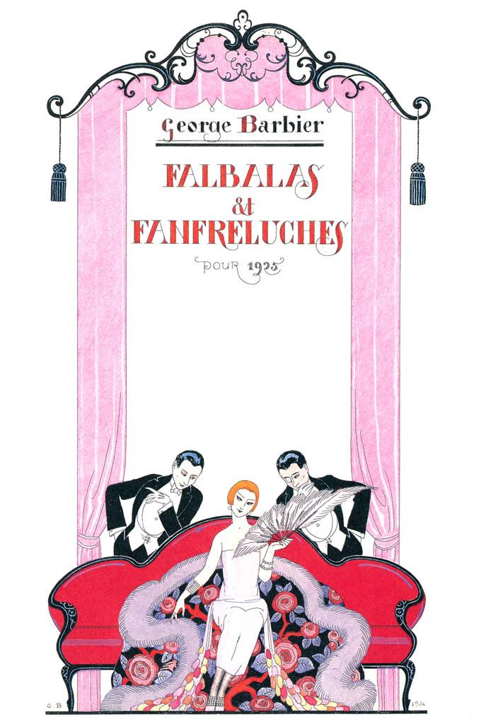 ジョルジュ・バルビエ – ファルバラ・エ・ファンフルリュシュ 1925年表紙 [バルビエ・コレクション I FASHION CALENDAR 1922-1926より] パブリックドメイン画像