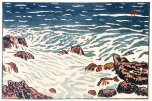 アンリ・リヴィエール – 「海、波の研究」 上げ潮の小波(ラ・エ岬) [フランスの浮世絵師 アンリ・リヴィエール展より]のサムネイル画像