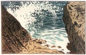 アンリ・リヴィエール – 「海、波の研究」 岩を打ち弓状に崩れ落ちる波(レデ岬) [フランスの浮世絵師 アンリ・リヴィエール展より]のサムネイル画像