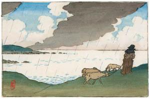 アンリ・リヴィエール – 「ブルターニュ風景」 突然の雨(サン=ブリアック) [フランスの浮世絵師 アンリ・リヴィエール展より]のサムネイル画像