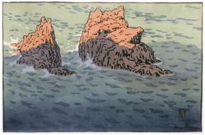 アンリ・リヴィエール – 「ブルターニュ風景」 アル=フィックの岩場(プルマナック) [フランスの浮世絵師 アンリ・リヴィエール展より]のサムネイル画像