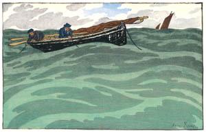 アンリ・リヴィエール – 「ブルターニュ風景」 海の漁師(サン=ブリアック) [フランスの浮世絵師 アンリ・リヴィエール展より]のサムネイル画像