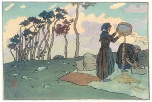 thumbnail Henri Rivière – « Paysages bretons » Vanneuses (Loguivy) [from Maître français de l ukiyo-e Henri Rivière]