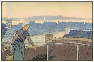 アンリ・リヴィエール – 「美し国ブルターニュ」 ロギヴィ 夕刻 [フランスの浮世絵師 アンリ・リヴィエール展より]のサムネイル画像