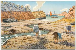 アンリ・リヴィエール – 「美し国ブルターニュ」 干潮のロギヴィの港 [フランスの浮世絵師 アンリ・リヴィエール展より]のサムネイル画像
