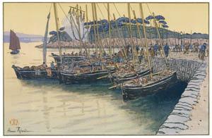アンリ・リヴィエール – 「美し国ブルターニュ」 トレブルヘの帰船 [フランスの浮世絵師 アンリ・リヴィエール展より]のサムネイル画像