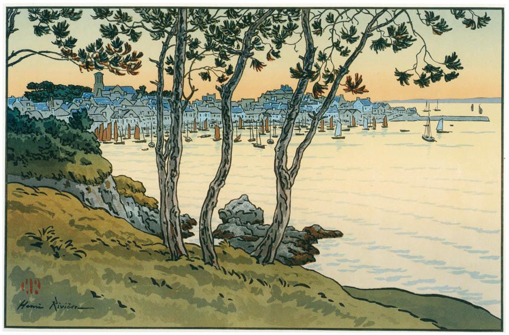 Henri Rivière – « Le Beau Pays de Bretagne » Le Port de Douamenez [from Maître français de l ukiyo-e Henri Rivière]