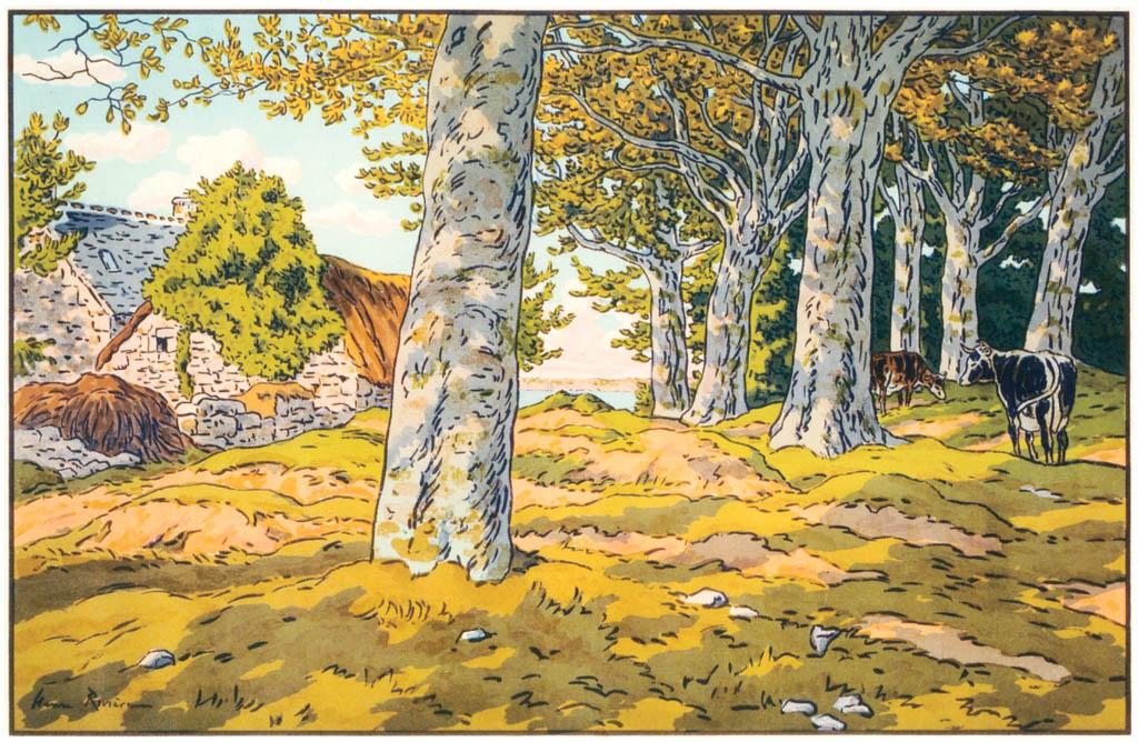 Henri Rivière – « Le Beau Pays de Bretagne » Le Bois de hêtres à Kerzardem [from Maître français de l ukiyo-e Henri Rivière]