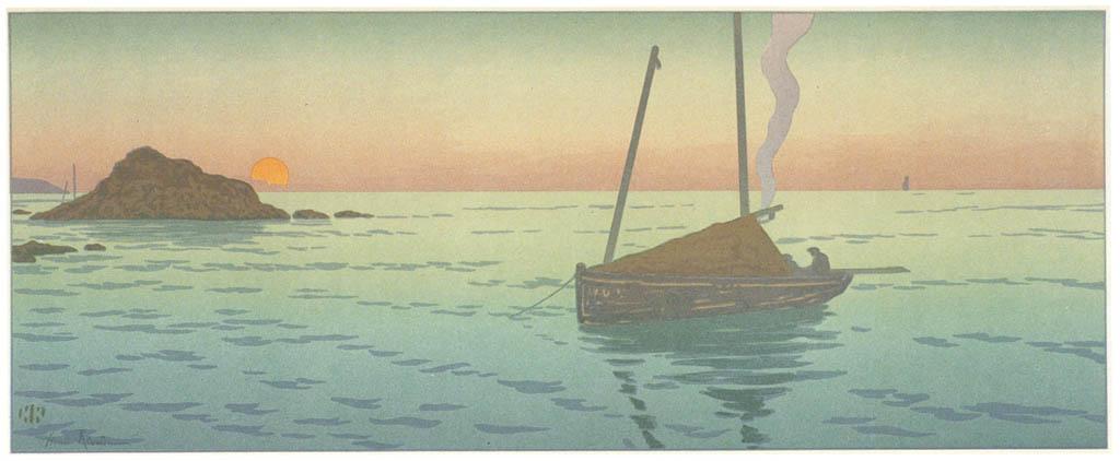 Henri Rivière – « La Féerie des heures » Le Soleil couchant [from Maître français de l ukiyo-e Henri Rivière]