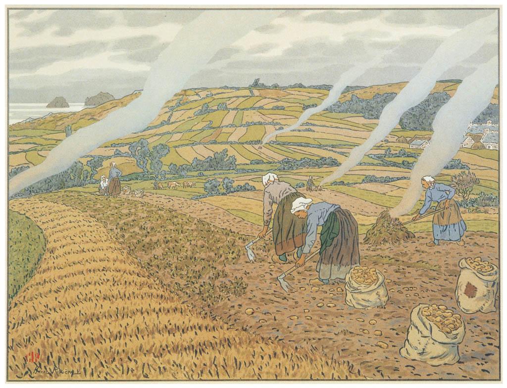 Henri Rivière – « Au vent de Noroît » Le Travail aux champs [from Maître français de l ukiyo-e Henri Rivière]