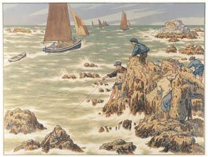 thumbnail Henri Rivière – « Au vent de Noroît » Le Travail aux champs [from Maître français de l ukiyo-e Henri Rivière]