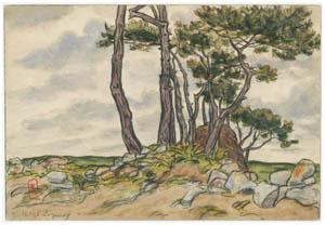 アンリ・リヴィエール – ロギヴィ、1895年7月(ブルターニュ風景) [フランスの浮世絵師 アンリ・リヴィエール展より]のサムネイル画像