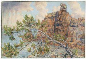 アンリ・リヴィエール – ロギヴィ、1899年8月(ブルターニュ風景) [フランスの浮世絵師 アンリ・リヴィエール展より]のサムネイル画像