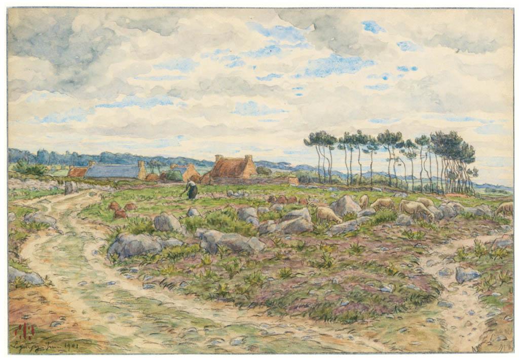 アンリ・リヴィエール – ロギヴィ、1901年6月(ブルターニュ風景) [フランスの浮世絵師 アンリ・リヴィエール展より] パブリックドメイン画像