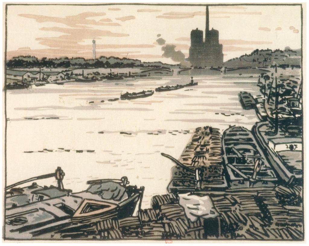 アンリ・リヴィエール – オーステルリッツ橋から [フランスの浮世絵師 アンリ・リヴィエール展より] パブリックドメイン画像