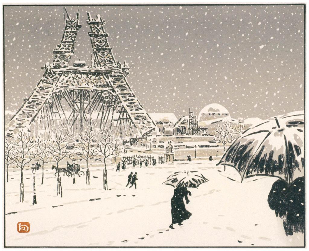 Henri Rivière – Le tour en construction, vue du Trocadéro [from Maître français de l ukiyo-e Henri Rivière]